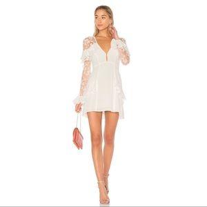 For Love & Lemons Rosebud Embroidery Mini Dress S